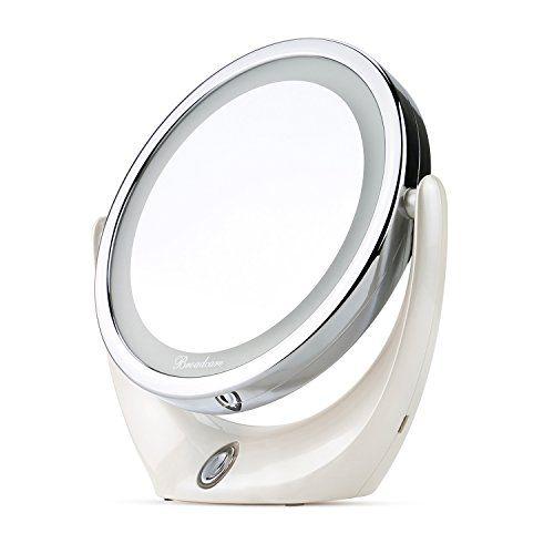 BROADCARE Miroir de Maquillage LED Lumières Miroir de Table à 1X / 5X Grossissement avec une Rotation de 360 degrés: SE MAQUILLER SANS…