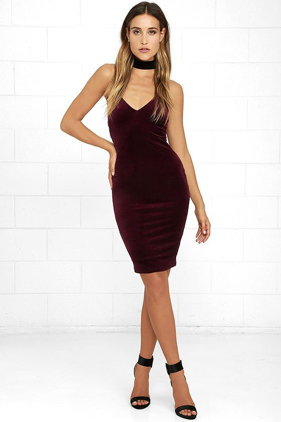 The Wow-Worthy Burgundy Velvet Bodycon Dress will earn you plenty of admiring glances! Soft and stretchy velvet forms a triangle bodice, supported by twin spaghetti straps that crisscross at back. Sexy bodycon fit travels to a mini-length skirt.