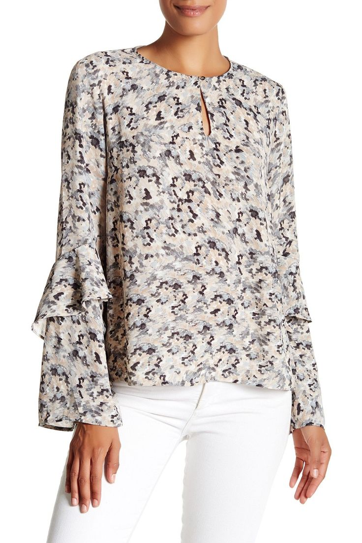 Ruffle Sleeve Keyhole Popover Blouse by Harlowe & Graham on @nordstrom_rack