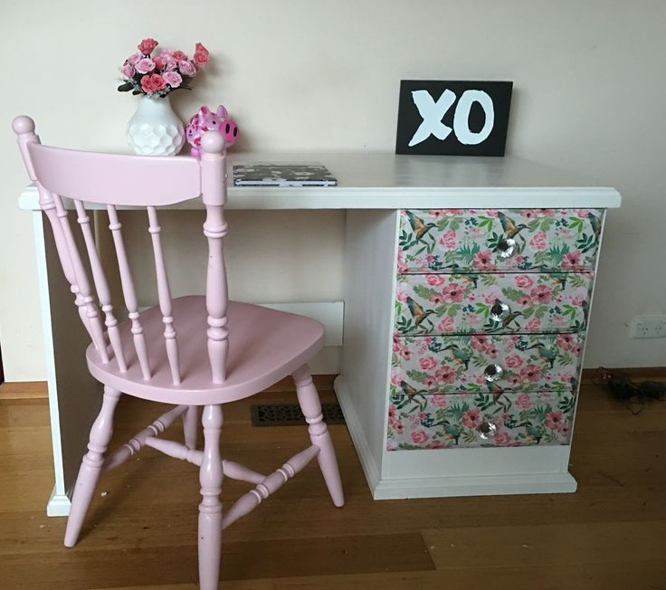 Upcycled desk Decoupage  Chalk paint  Girls room Pink www.facebook.com/mycreativedezines