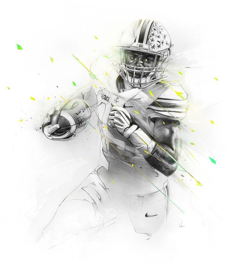 Designed 3 illustrations for the ESPN College Football Preview 2015. Athletes are Dak Prescott, Trevor Boykin and Ezekiel Elliott.