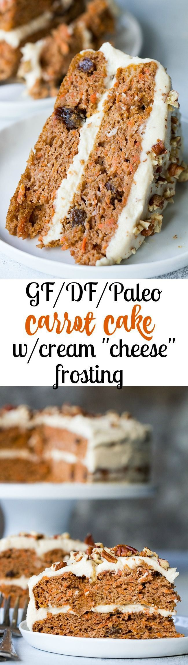 "This Paleo Carrot Cake with coconut ""cream cheese"" frosting is perfectly sweet and moist, lightly spiced and no one will guess it's grain free + dairy free!"