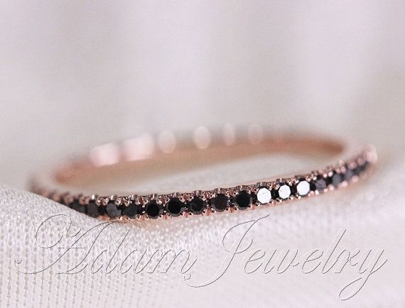 Black Diamond Ring/ Wedding Band 14k Rose Gold Half Eternity Band/  Engagement Ring/ Wedding Band/ Matching Band/ Thin Design