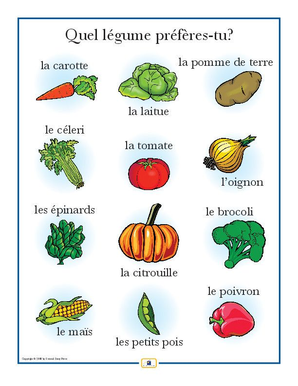 Vegetables in French