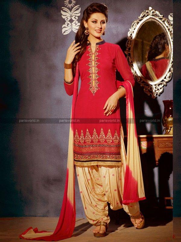 Red Georgette Elegant Patiala Salwar kameez