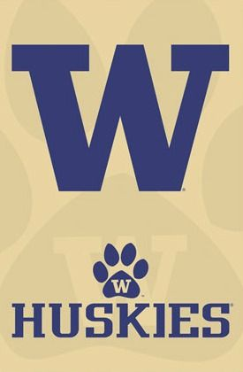 University of Washington UW Huskies Football Sports Team Logo Print Poster purple and gold.