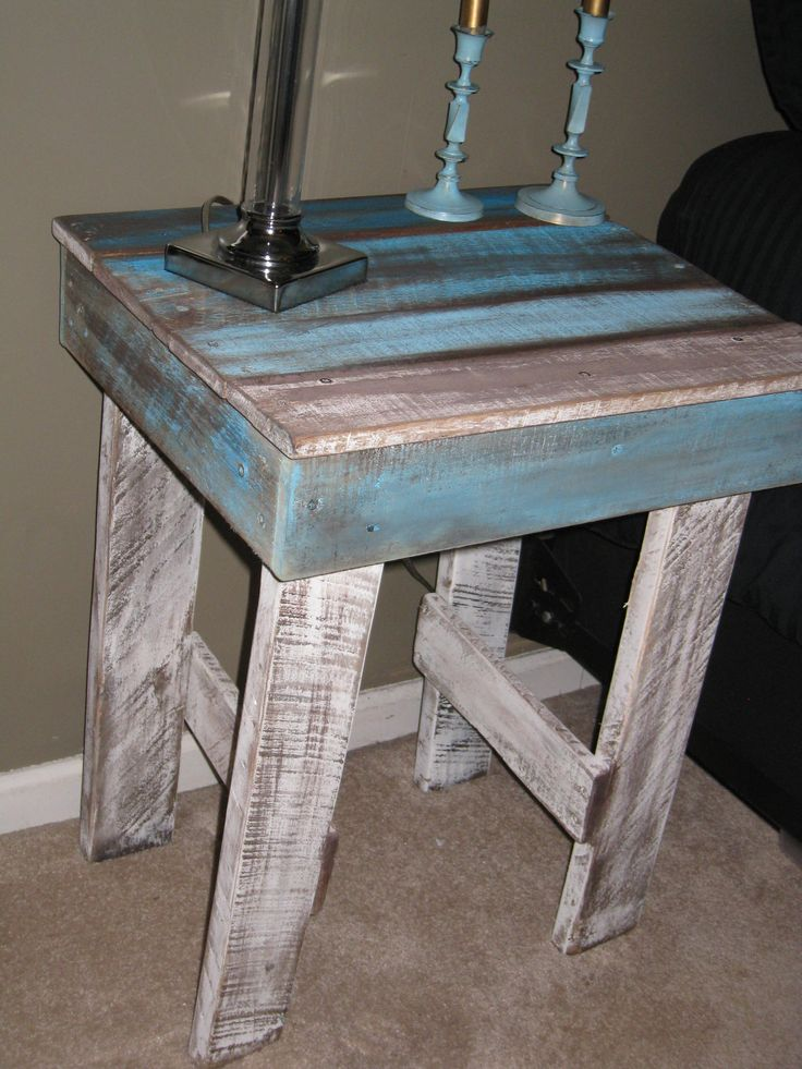 Handcrafted Pallet Night Stand / End Table.  Follow us on facebook.