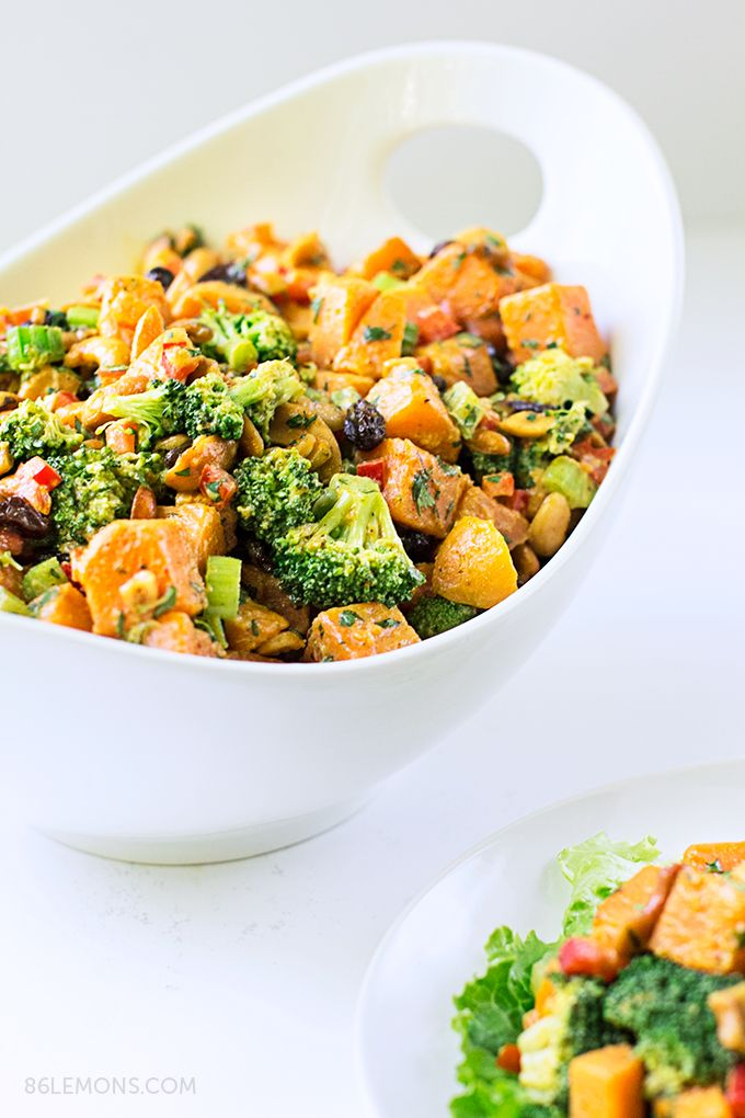 Curry Sweet Potatoes with Broccoli and Cashews #vegan #glutenfree (great make-ahead, healthy dish for #potluck, camping, etc)
