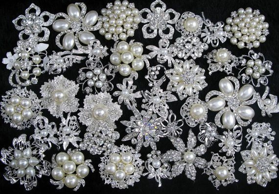 Wholesale Assorted 40x Vintage Crystal Rhinesone Pearl Brooches Pins Embellishment Bridal Wedding Bouquet Brooches Pins Gift Cake Decoration on Etsy, $49.99