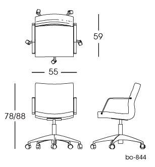 bo-844 Office Chair 2D   Lund & Larsen for bo-ex furniture. http://www.bo-ex.dk/project/bo-855/