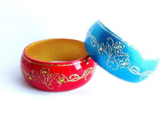 Painted wooden bangle bracelet blue bracelet wood red bangle