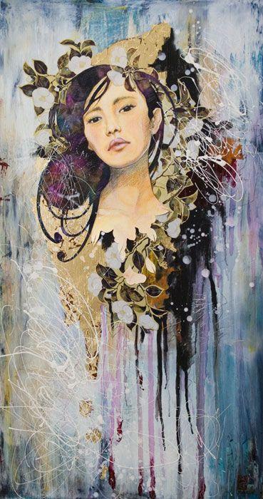 """Tears & Rain"" -Namida Ame- Mixed media and gold leaf on wood."