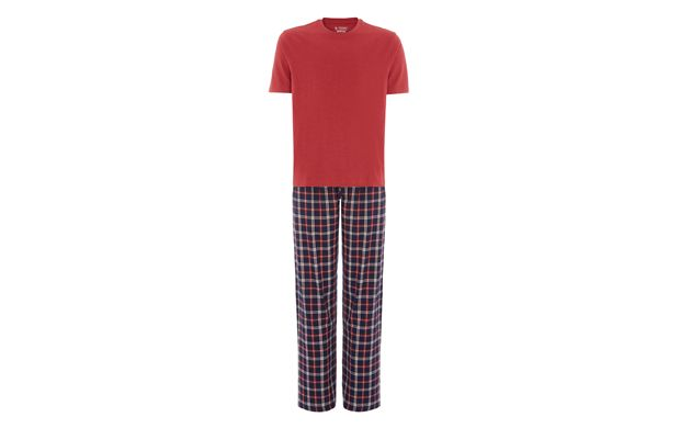 """Check Red Pyjama Set. """"A contemporary combination of a bright red tee and cool check trousers makes this casual pyjama set a must-have."""""""