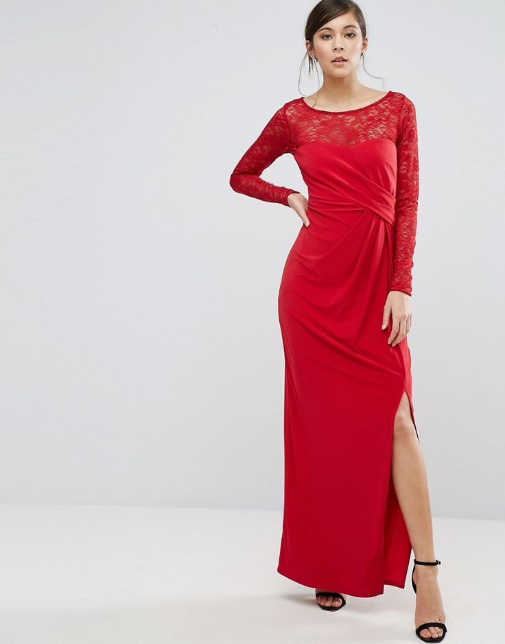 Coast Riva Lace Sleeve Wrap Maxi Dress - Red