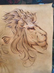 Fantastic Lion Leather Carving 图纸 Leather Leather