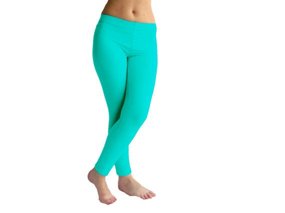 Turquoise green FURRY Yoga Pants Lycra Leggings by AncyShop, $55.00
