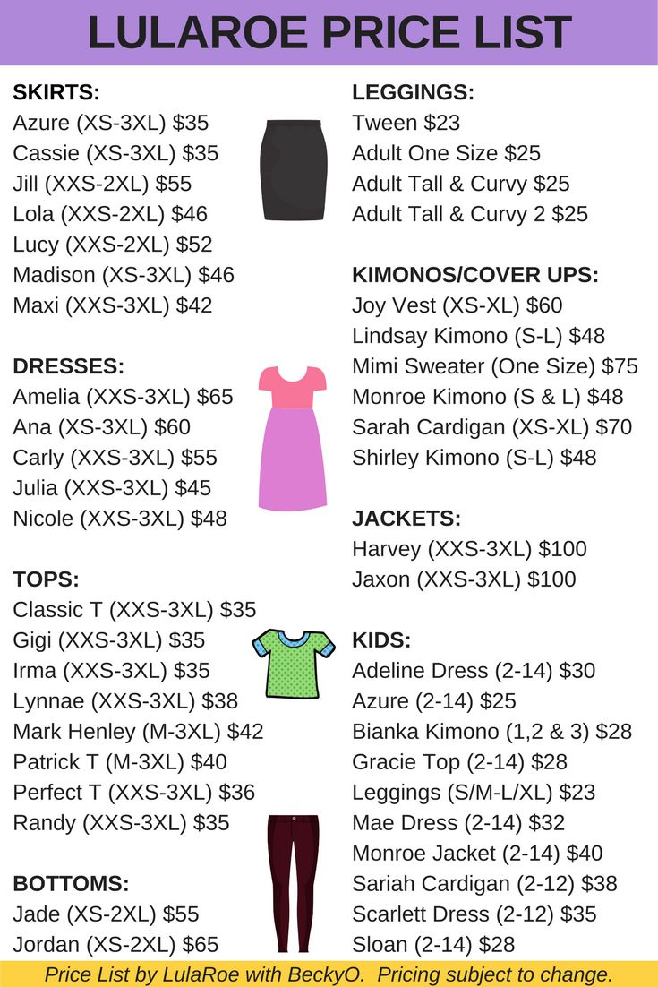 LulaRoe price list 2017 new styles Harvey Jaxon Gigi Lynnae Sariah
