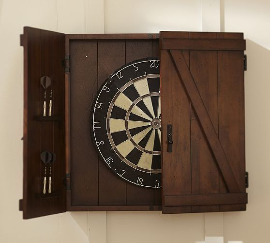 Dartboard Set - Mahogany stain | Pottery Barn. Trev would LOVE this