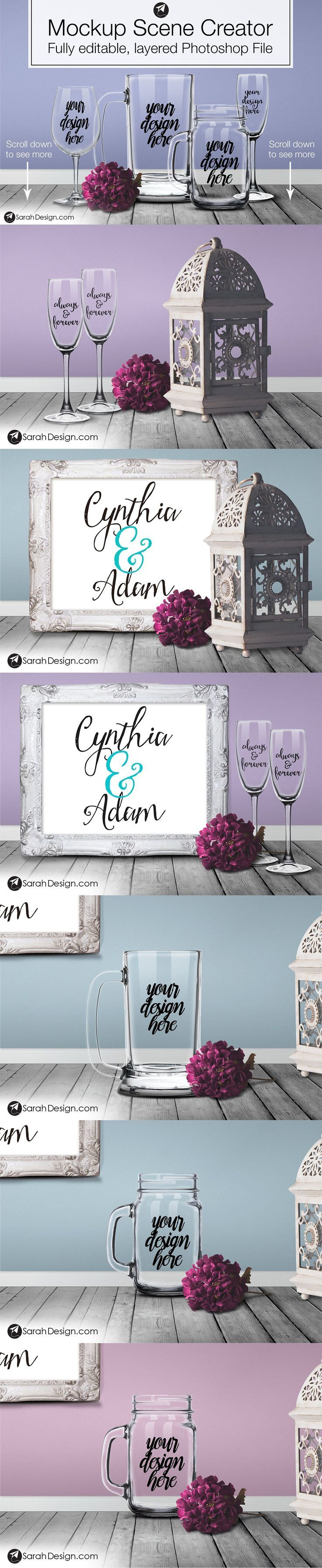 This styled mockup scene creator Photoshop template is perfect for printables shops, or Vinyl Design shops (Silhouette or Cricut), or anyone who adds logos and designs to drinking glasses, or frames. Use this many layered Photoshop file to create beautiful product listing images or mockups for customers. $39 https://crmrkt.com/wPjDGb?u=sarahdesign#ad