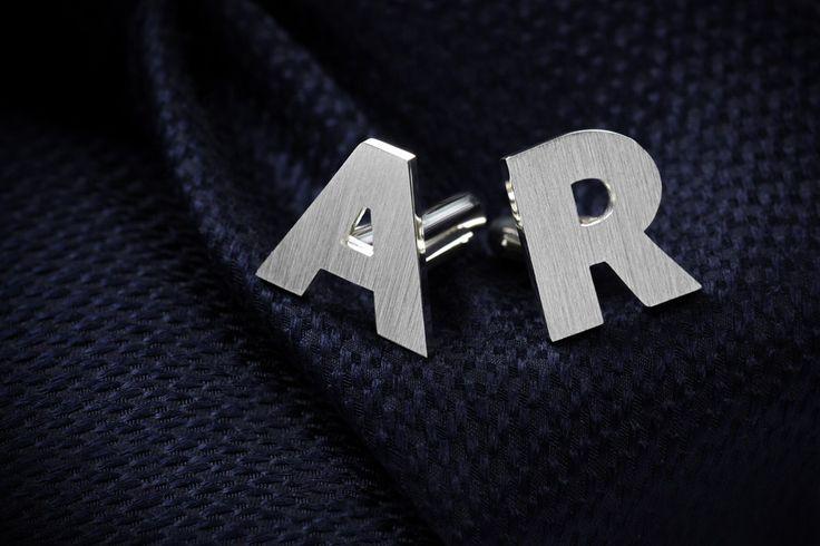 Initials cufflinks in sterling silver
