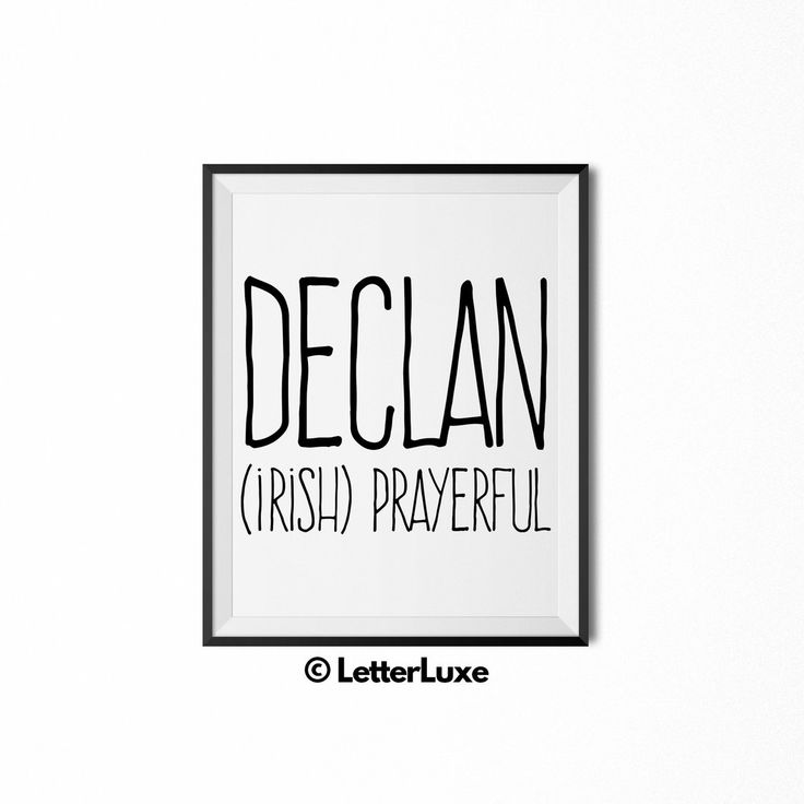 Declan Name Meaning Print - Nursery Decor                      – LetterLuxe
