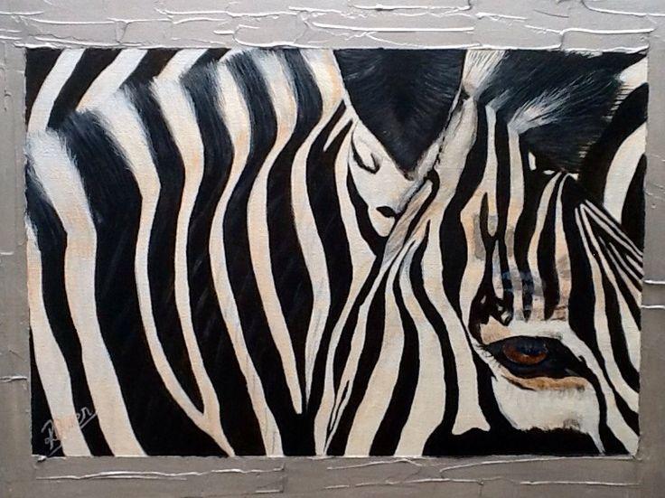 """Desta"" means "" Joy"" Zebra acrylic & texture on canvas  SOLD (www.artonpartridge.wix.com/artist)"