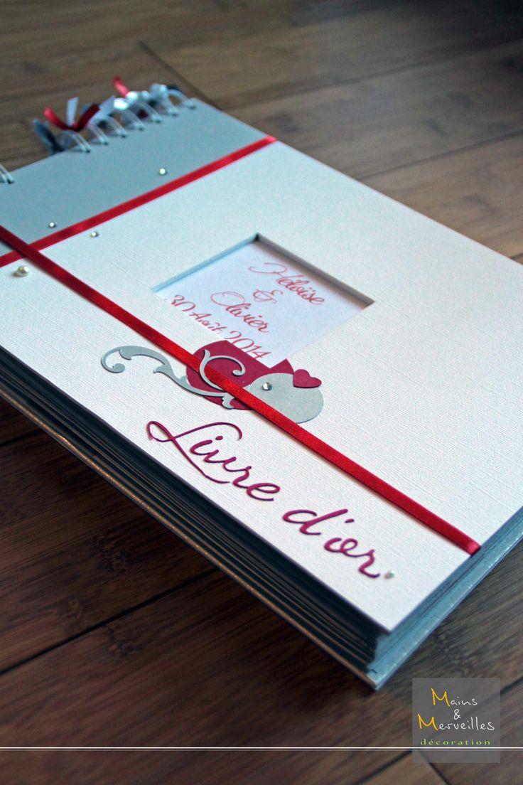 Livre d'or Blanc, argenté et touche de rouge http://www.mainsetmerveillesdeco.fr/creation/livre-dor/