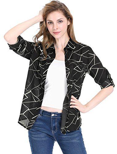 7bf48e553 Perfashion Women's Roll-up Long Sleeves Buttoned Plaid Boyfriend Shirt