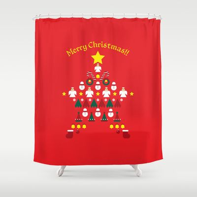 FLAT CHRISTMAS series -CHRISTMAS STAR_R Shower Curtain by SEOL.D - $68.00