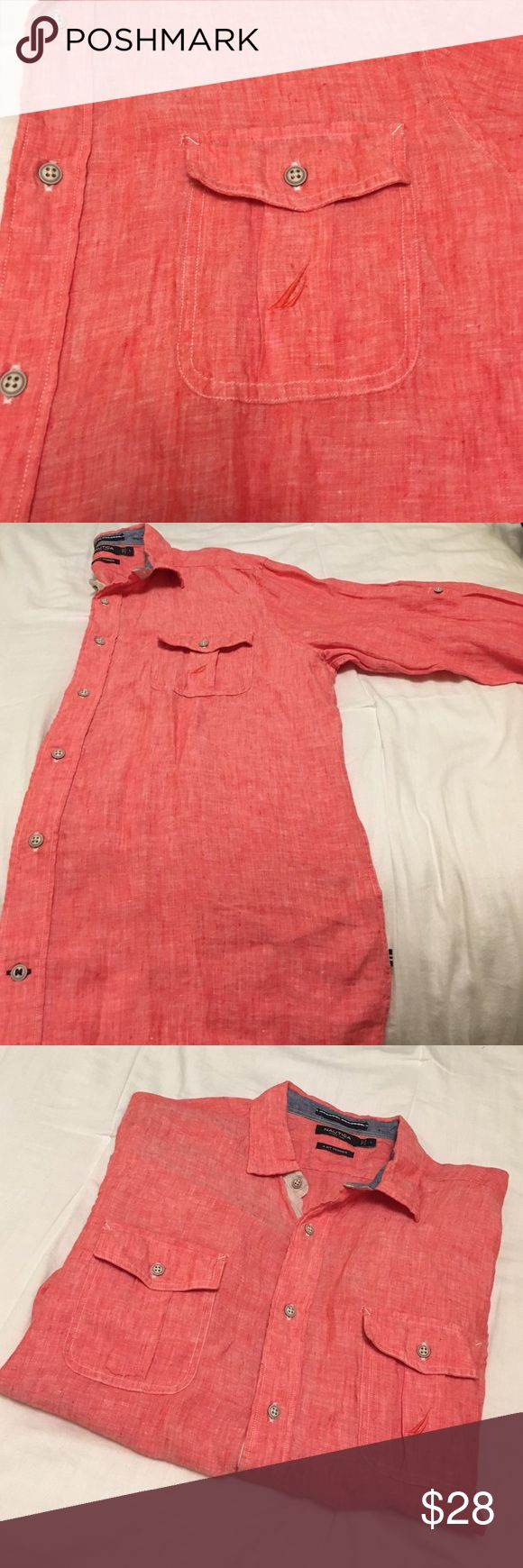 Nautica Button-down Red button-down. 100% linen. Has two pockets in the front, two buttons around cuff of sleeve for adjusting, & single button in middle of arm sleeve for adjusting length of the sleeve.  Buttons all the way down the shirt are a cream color. This is a really great beach/ summer shirt. It's very light. Good condition! Nautica Shirts Casual Button Down Shirts