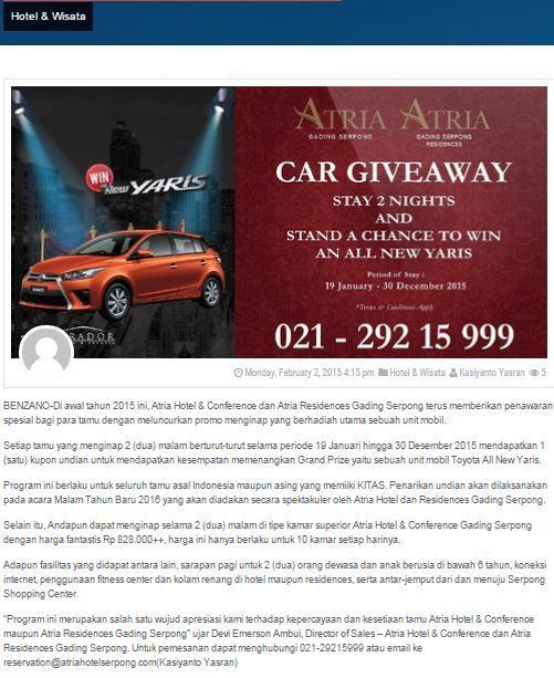 Menginap Di Atria Hotel & Residences Berhadiah Mobil - Gaya Hidup - 2 February 2015 http://benzano.com/gaya-hidup/hotel-wisata/menginap-di-atria-hotel-residences-berhadiah-mobil/
