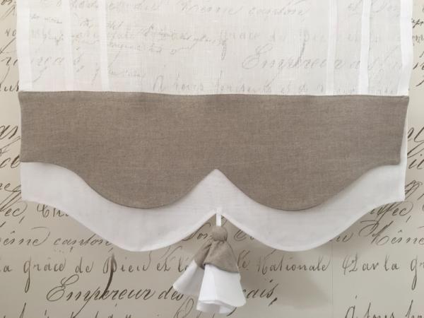Brise-bise lin blanc Modèle LISERON bicolore 35x90 cm / Brise-bises et Rideaux en prêt à poser