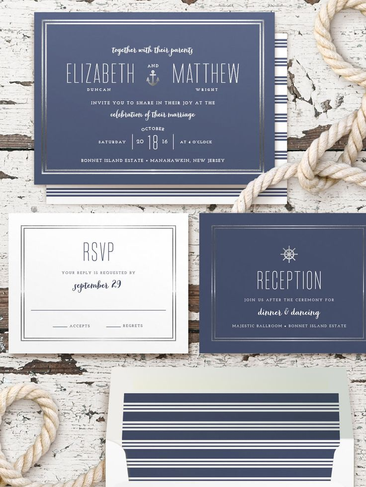 Our love for nautical stationery continues with one of our favorites yet. Stationery: Minted ---> http://www.minted.com/sem/wedding?utm_source=weddingchicks&utm_medium=onlineadv&utm_content=socialpinterest&utm_campaign=Q2