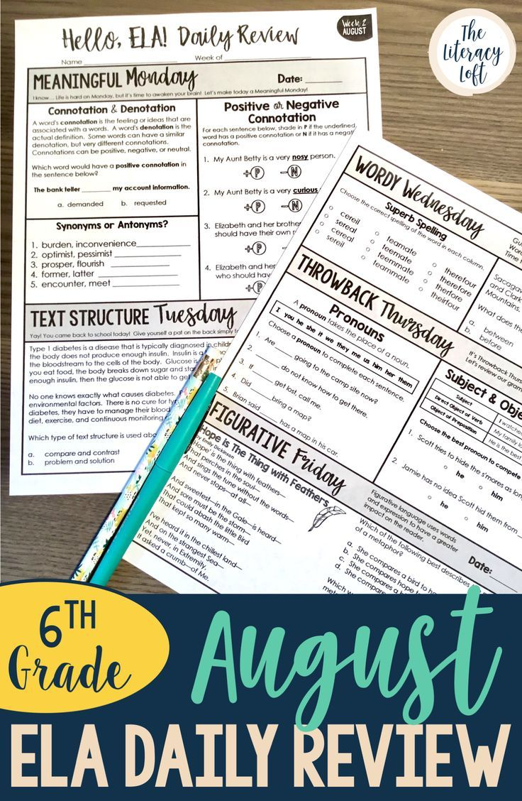 ELA Daily Review 6th Grade {August} | TpT Language Arts