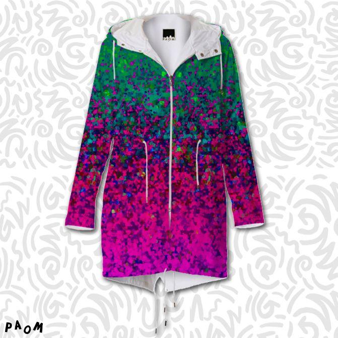 SOLD RAINCOAT GLITTER DUST BACKGROUND G8! https://paom.com/products/0000000p-raincoat-glitter-dust-background-g8 #Paom #AllOverPrint #raincoat #clothing #glitter #dust #background #green #pink