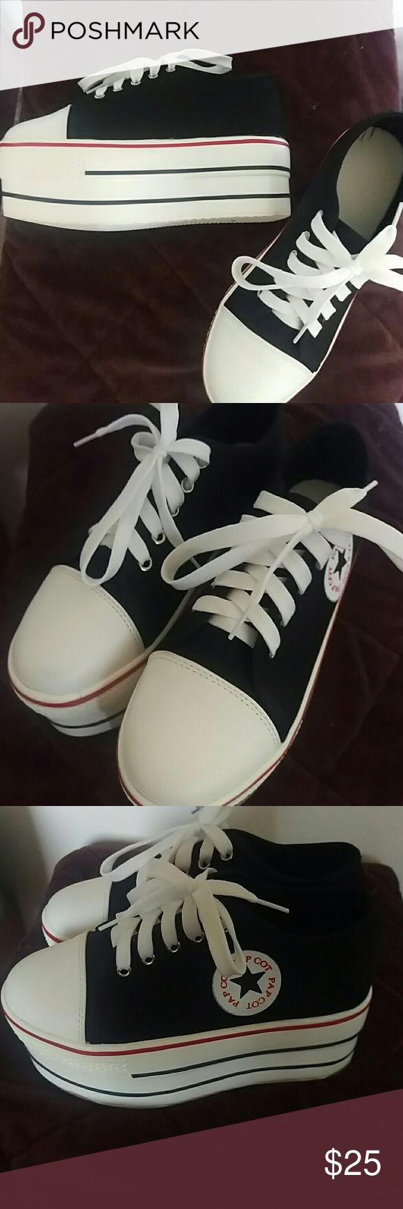 Black and white lace up platform sneakers Converse look alike platform sneakers Shoes Sneakers