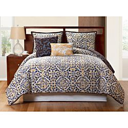 @Overstock - This reversible comforter set features a modern design mixed with a retro palette of brown, white, blue and yellow. Bold colors and flowing designs fuse together to create a new take on modern while plush decorative pillows complete this eye-opening look.http://www.overstock.com/Bedding-Bath/Sahara-5-piece-Reversible-Comforter-Set/6910498/product.html?CID=214117 $79.99