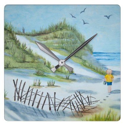 child on sandy beach watercolor square wall clock - kids kid child gift idea diy personalize design