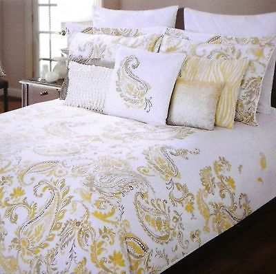 Tahari Yellow Gray Amp White Paisley 3pc Full Queen Duvet