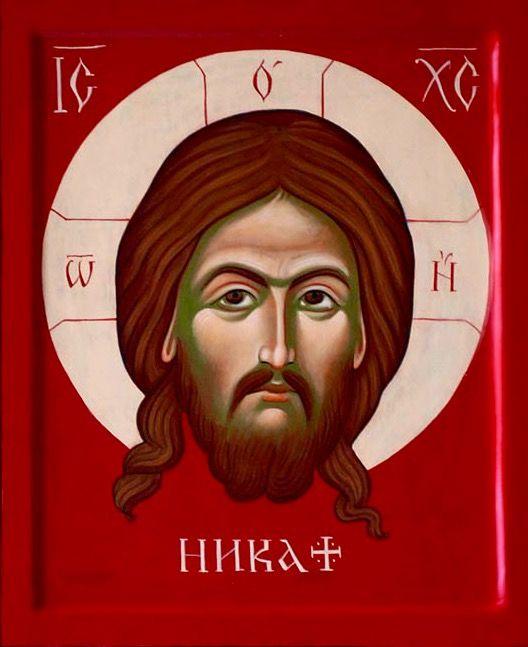 Mandolin Christ icon red by Anna Gełdon