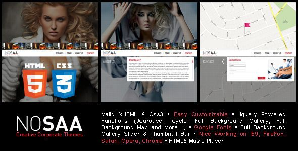 Nosaa Full Page Slider Creative Template   http://themeforest.net/item/nosaa-full-page-slider-creative-template/3172439?ref=damiamio       Nosaa is a Powerful Professional HTML /CSS3 Theme, with Fullscreen background. If you love photography or general creativeness and want new interesting ways to display your work then this really is the theme for you. Follow Us                       Updated Log / 08 November 2012   Added to the footer area  Added to the social media icons  Added to the…