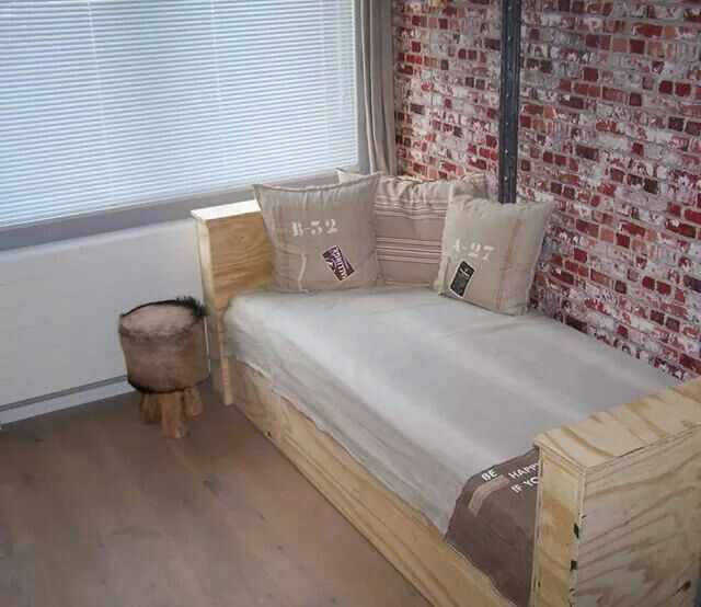 Bed made from underlayment.