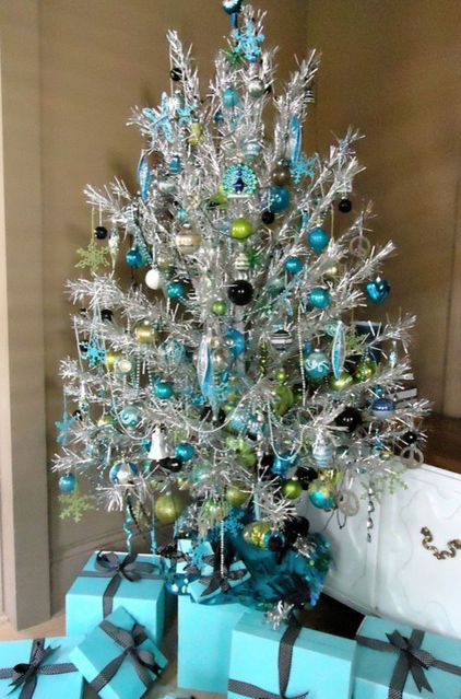 blue + silver tinsel Christmas Decor