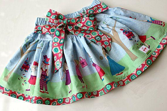 Girls Skip & Twirl Skirt Size 2 3 4 5 6  - Celebrations by Two Pink Flamingos
