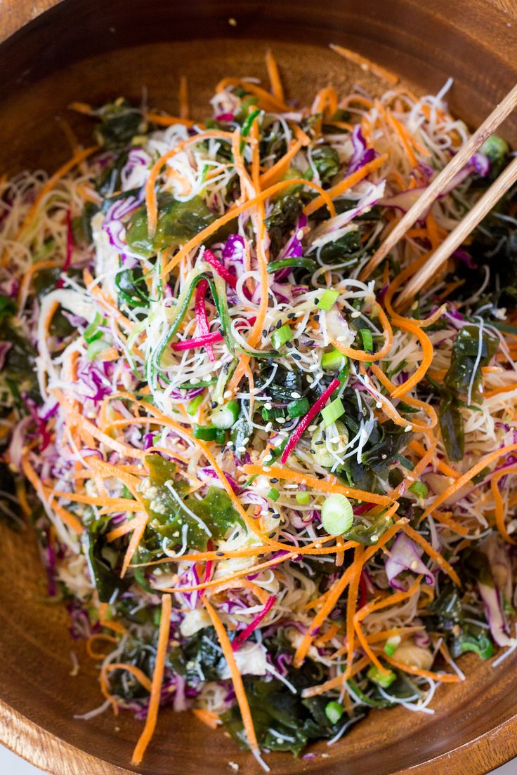 Rice noodle salad with sesame dressing makes a great summer meal or appetiser. It's quick to make and doesn't require cooking. It's vegan and gluten-free.