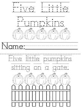 5 little pumpkins sitting on a gate coloring page - five little pumpkins sitting on a gate coloring sheet