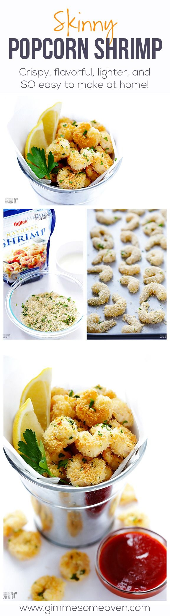 """Classic popcorn shrimp is lightened up in this easy recipe, yet still flavorful, crispy, and perfectly delicious for """"popping""""! gimmesomeoven.com #gameday #appetizer"""