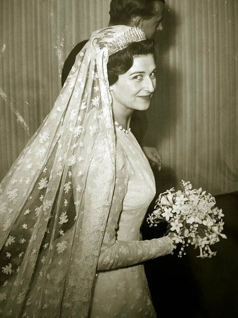 Princess Alexandra of Kent on her wedding day, April 24, 1963.  Alexandra is known today as the Honorable Lady Ogilvy, but she remains forever Princess Alexandra.  A first cousin of Queen Elizabeth, Alexandra carries out royal duties and engagements for Her Majesty, the Queen.  In this wedding photo, Princess Alexandra greatly resembled her mother, Princess Marina of Greece and Denmark.