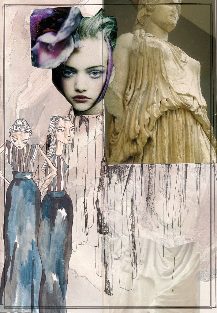Creative Fashion Sketchbook with mixed media layout; texture explorations, fashion drawings & watercolour sketches - fashion design inspired by statues