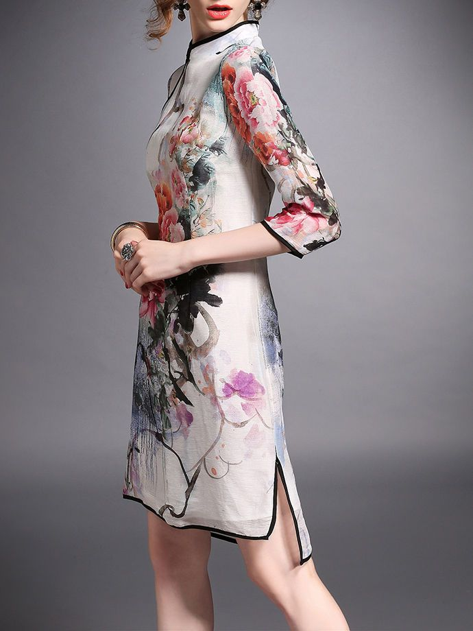 Side Slit Silk/Linen Mini Dress